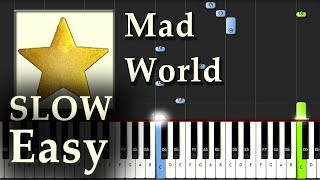 Mad World - Gary Jules - Piano Tutorial Synthesia Easy SLOW - How To Play