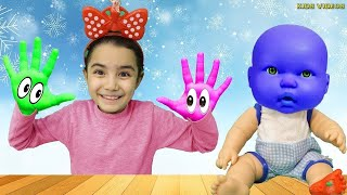 Saliha and friends playing in colored paints, Learn Colors With Nursery Rhymes Song