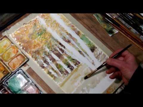 Hedwig's Art Birch trees, watercolor landscape