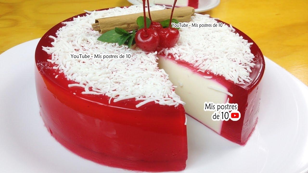 Gelatina Navideña Espejo rellena de queso crema philadelphia