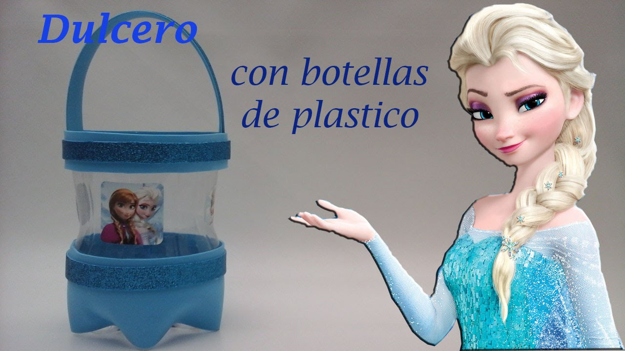 Como hacer un dulcero de frozen con botellas de plastico for Decoraciones de botes de plastico