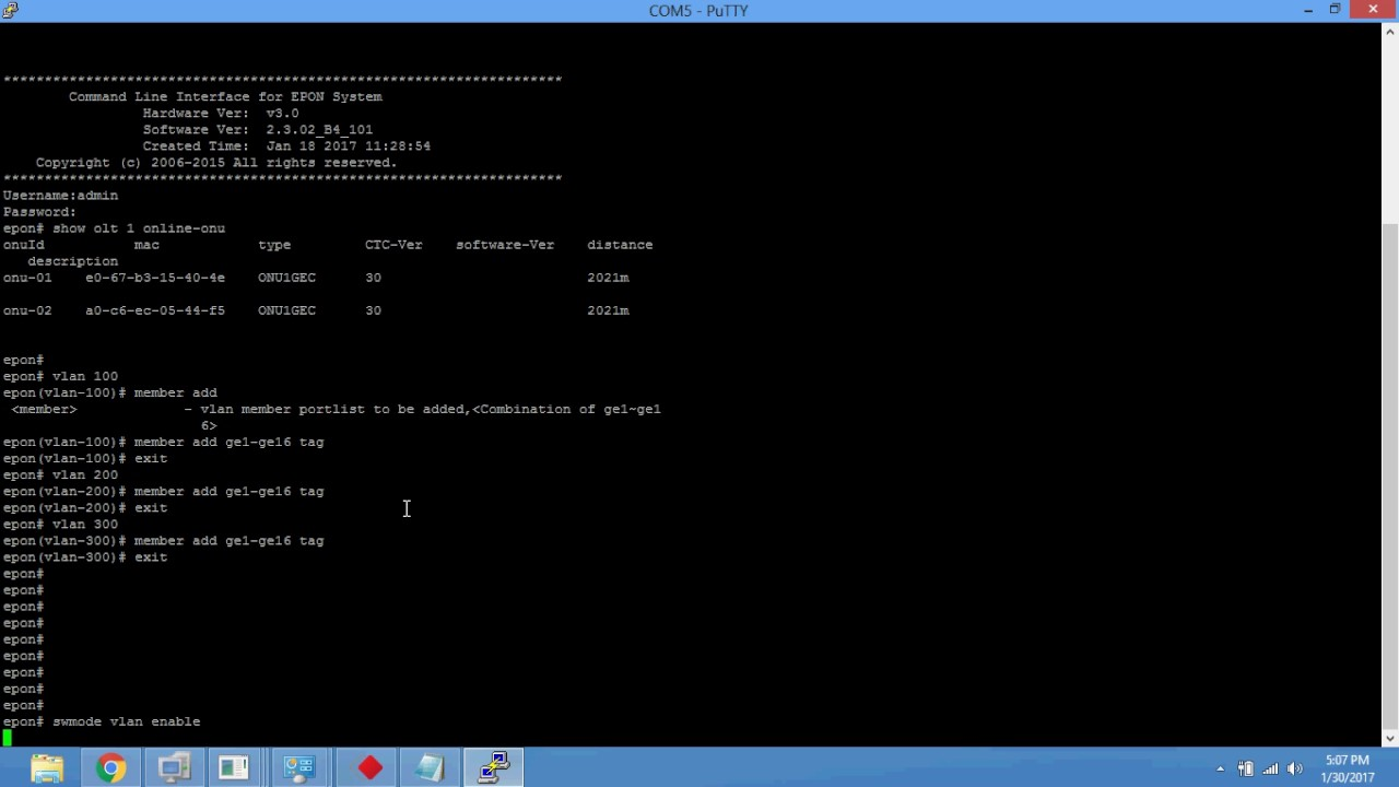 OPTILINK GEPON VLAN configuration in CLI mode 7088,7044,98084,97168