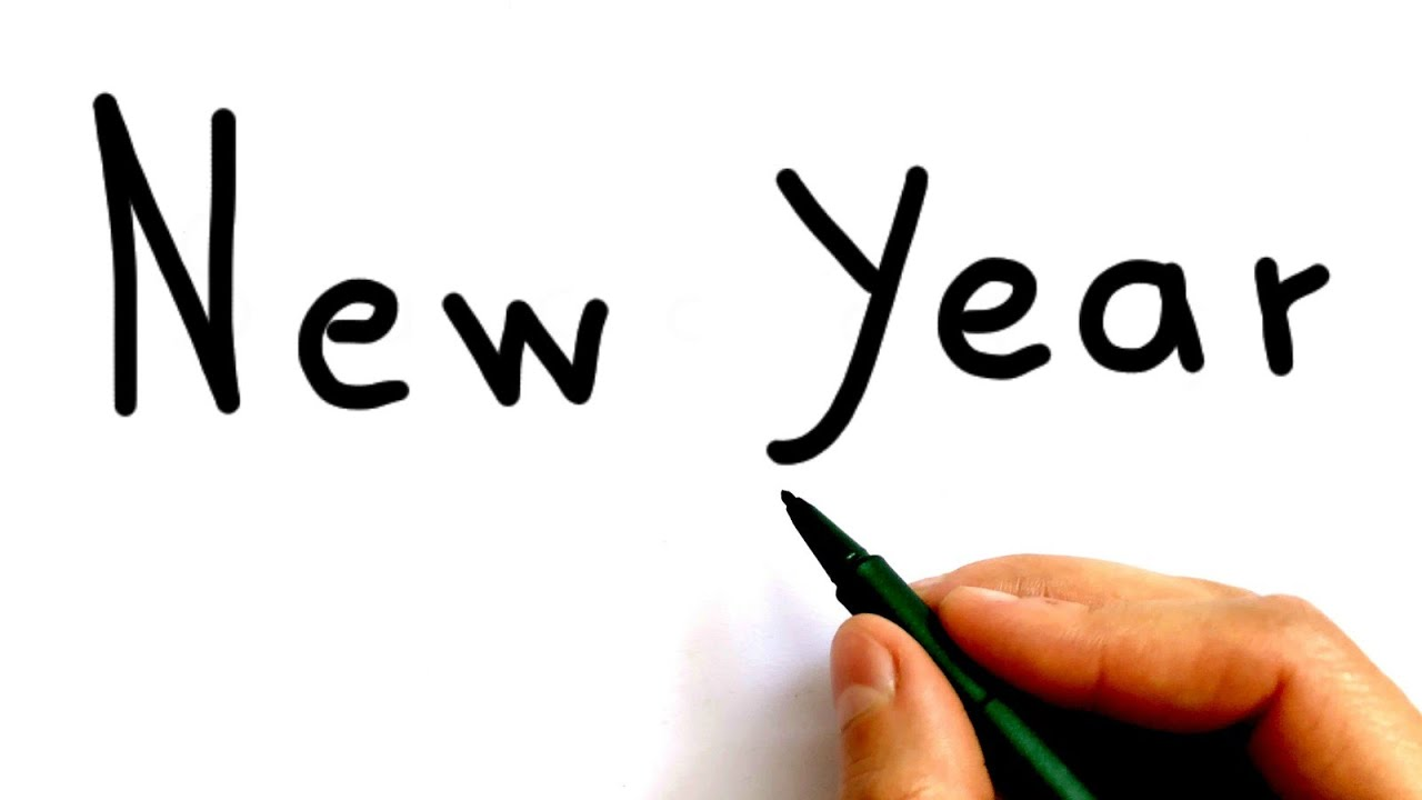 How to turn the words New Year into cartoon - YouTube