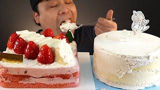 뚜레쥬르 딸기케이크와 생크림케이크 먹방~!! 리얼사운드…