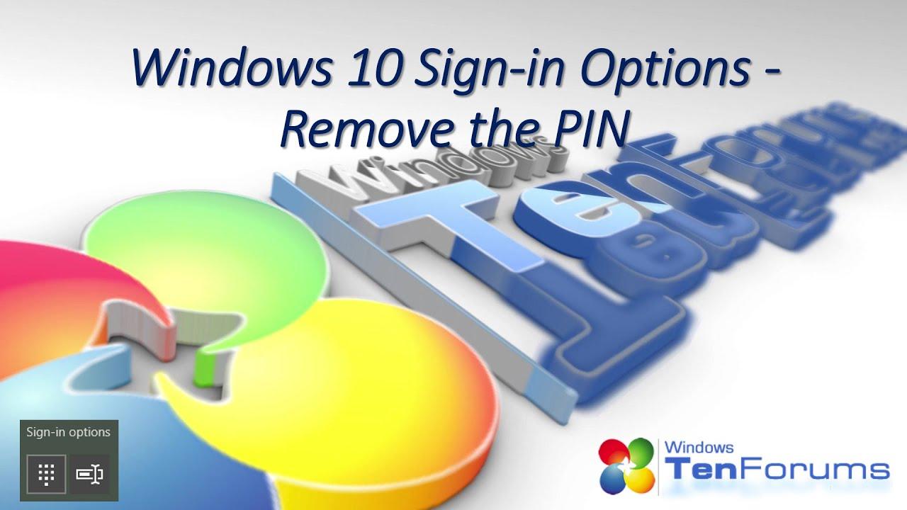 disable pin access windows 10