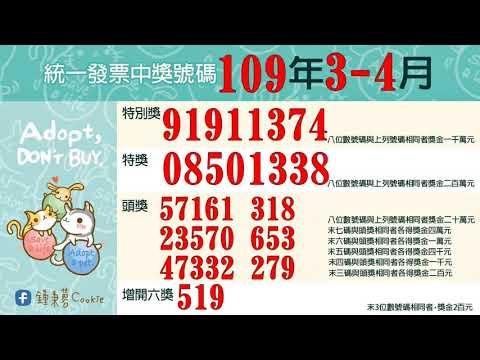 109年3、 4月統一發票中獎號碼(2020年)