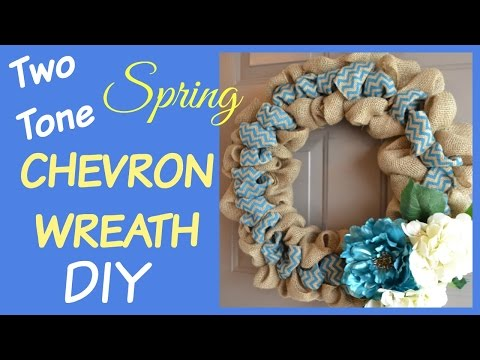 TWO TONE BURLAP WREATH CHEVRON SPRING HOW TO DIY | beingmommywithstyle