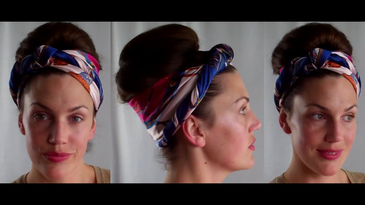 Hotd Dirty Hair Updo Scarf Amp Retro Bouffant Bun Hairstyle Tutorial Vinatgious Youtube