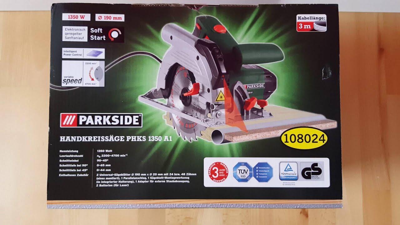 Parkside Phks 1350 Watt A1 Handkreissäge Skill Saw 190 Mm