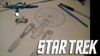 Enterprise Star Trek - Dibujo Técnico ( Compas y escuadra 90° ) Speed Drawing