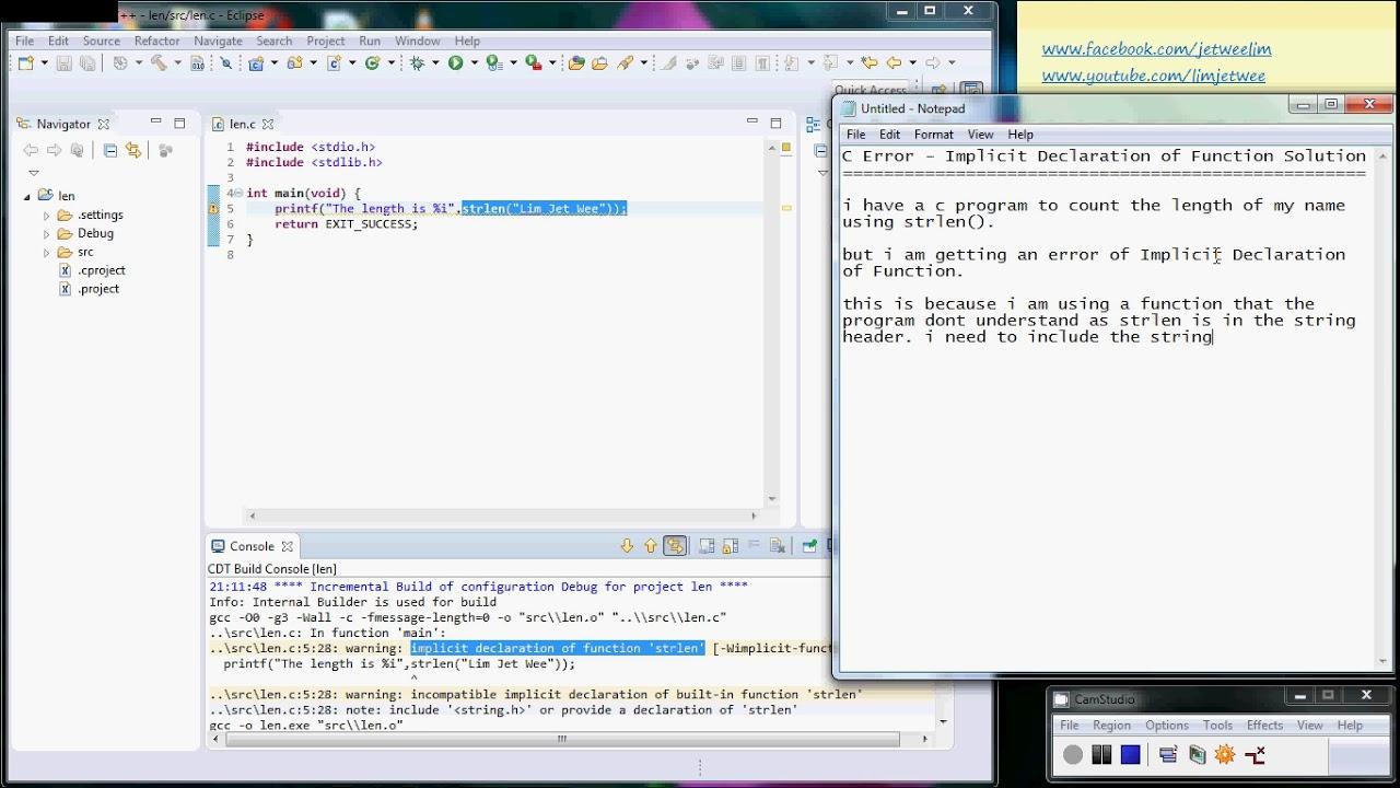 C Programming - Error Implicit Declaration Of Function Solution