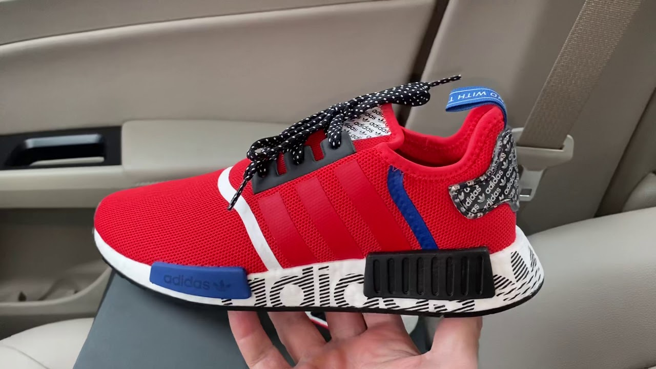 Adidas Nmd R1 Active Red Black Sneakers Youtube