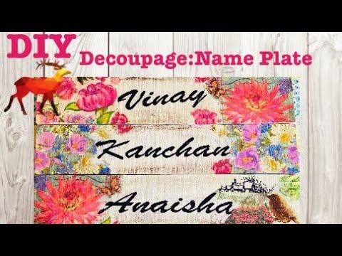 How To Make Handmade Name Plate   Decoupage Name Plate   Home Made name plate #nameplate