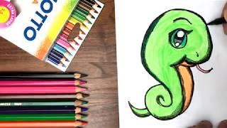 Dạy bé tập vẽ và tô màu rắn chibi