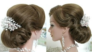 Bridal hairstyle for long hair tutorial.  Beautiful wedding updo