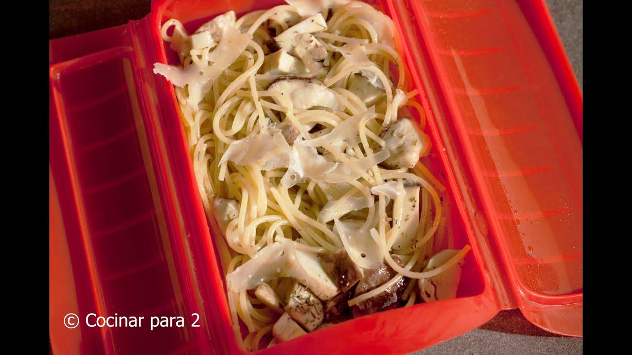 Recetas Cocina Microondas   Espagueti Y Boletus En Estuche De Vapor De Lekue Youtube