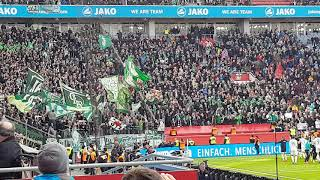 Werder Fans feiern nach dem Sieg gegen Leverkusen mit der Mannschaft. #b04svw