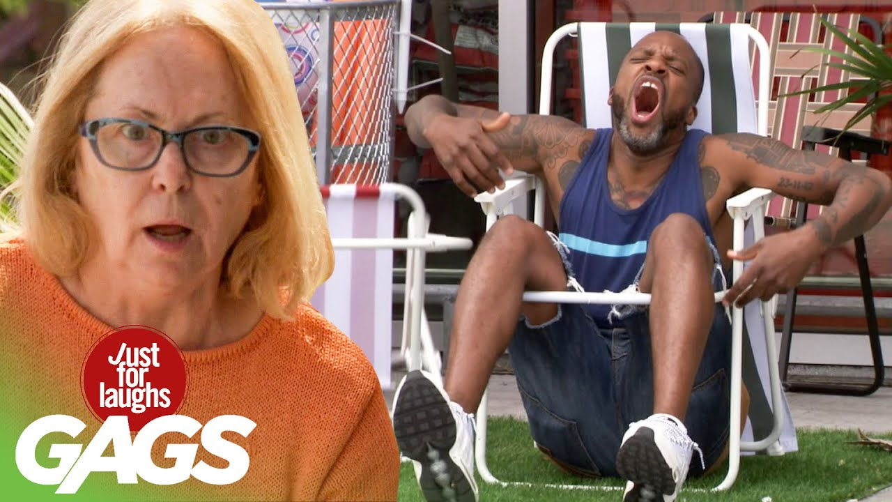 People try the World's Worst Lawn Chairs