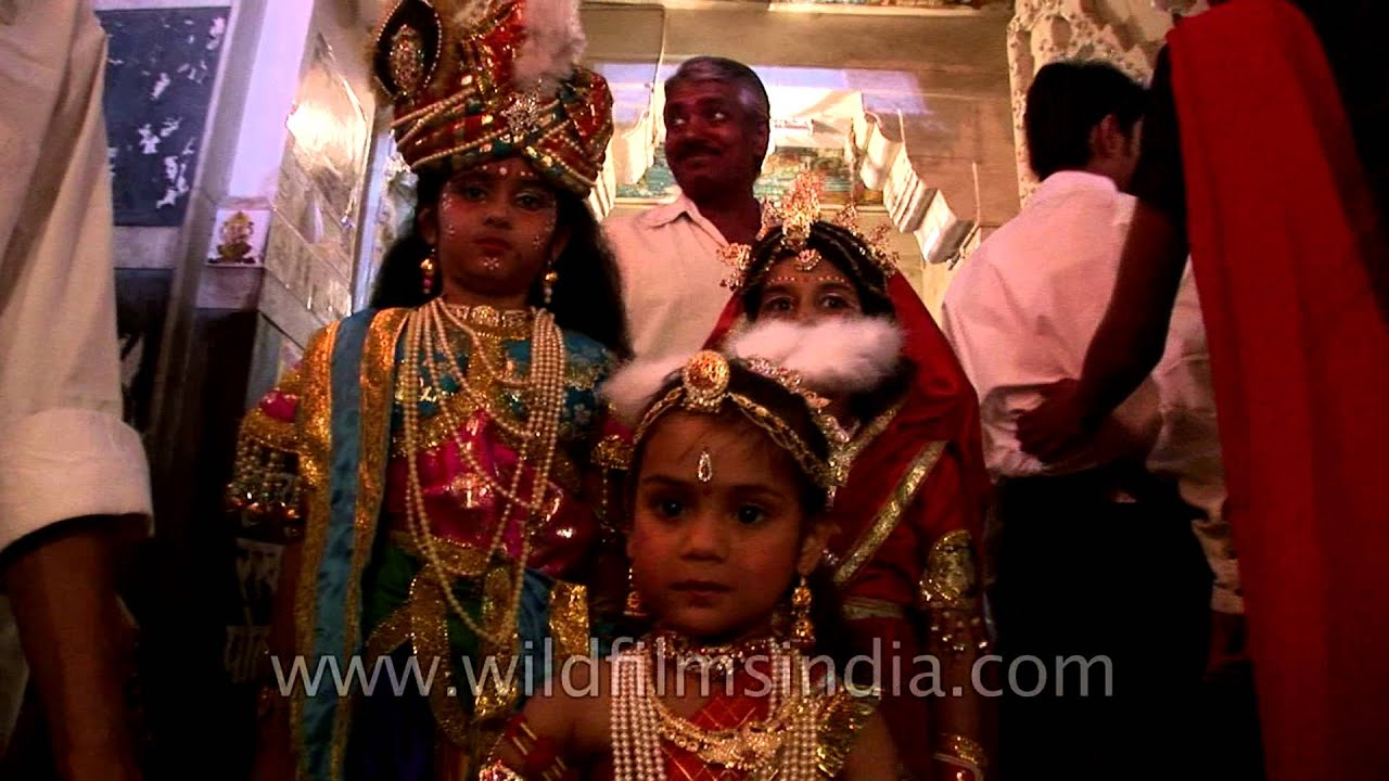 5925e721a Children dress up as Lord Krishna and Radha- Janamashtami - YouTube
