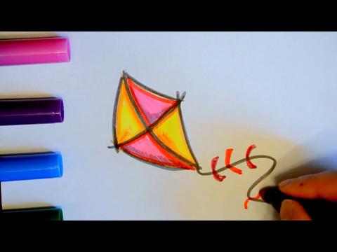 Как нарисовать воздушного змея поэтапно