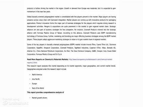 Biaxially Oriented Polypropylene (BOPP) Market - Market Research Report, 2014 - 2020