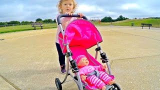 Little Girl Pushing Stroller /Playing with Baby Doll/ Outdoor Playground/Jugando con Mi Muñeca/