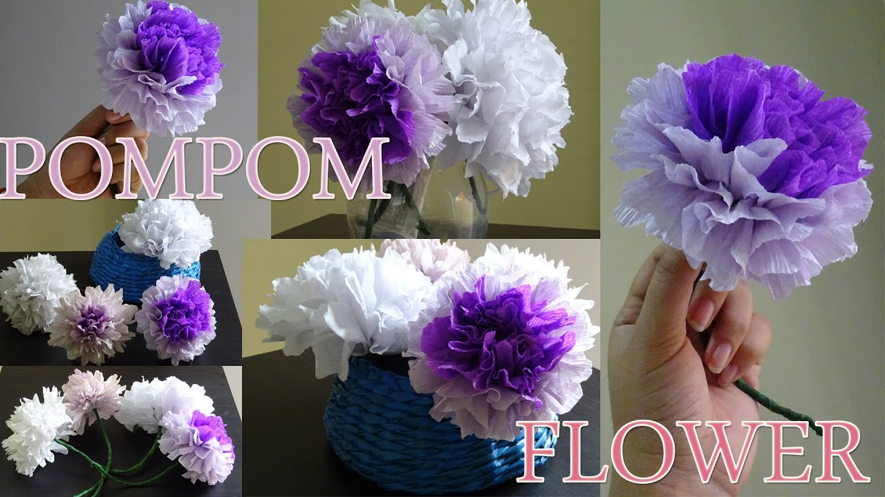 How to make pompom flower with crepe paper youtube mightylinksfo