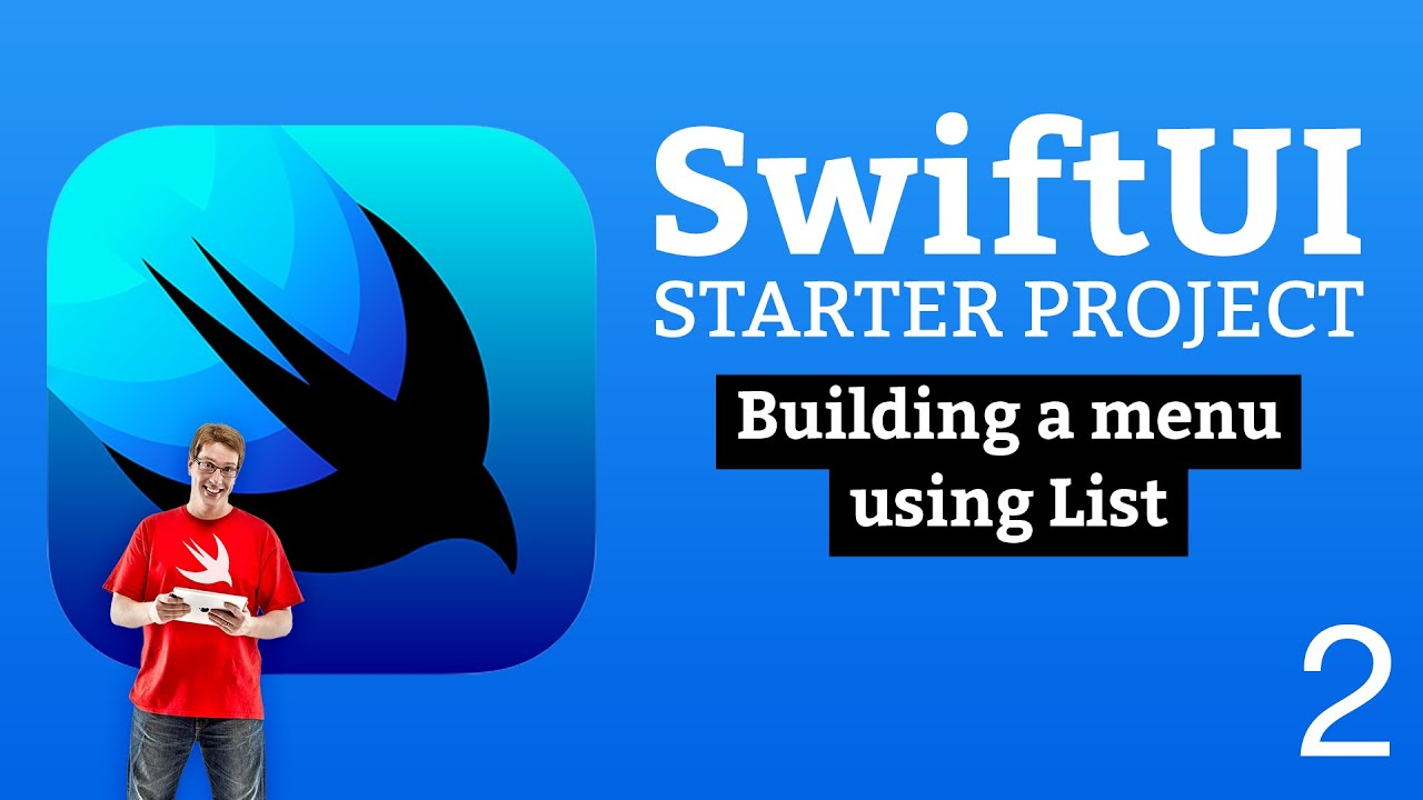 Building a menu using List - SwiftUI Starter Project 2/14