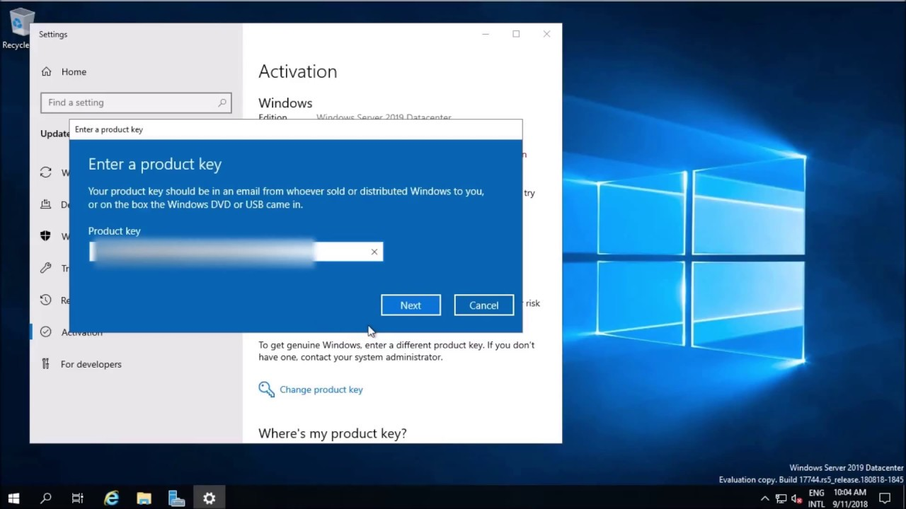 Rename & Activate Windows Server 2019
