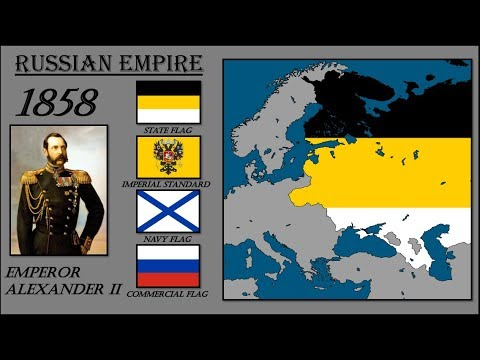Russian Flag History. Timeline Of Russian Flags With European Map. История Флага России (1700-2018).