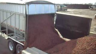 90yds of pecan hull mulch being dumped