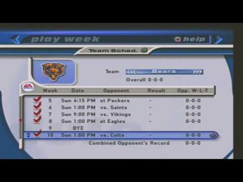 MADDEN NFL 2001, TEAM SCHEDULE, 2000 2001 SEASON CHICAGO BEARS