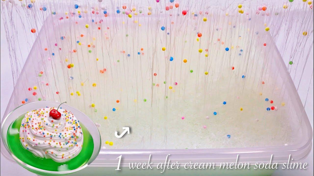 【ASMR】1週間放置してしゅわしゅわになったメロンソーダたぷたぷスライム🧁【音フェチ】 1week after cream melon soda slime 1주 후 크림 멜론 소다 슬라임