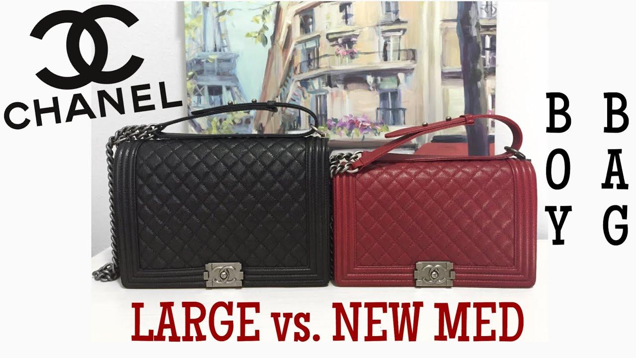 18530c99c953 CHANEL LARGE vs. NEW MED BOY BAG COMPARISON - YouTube