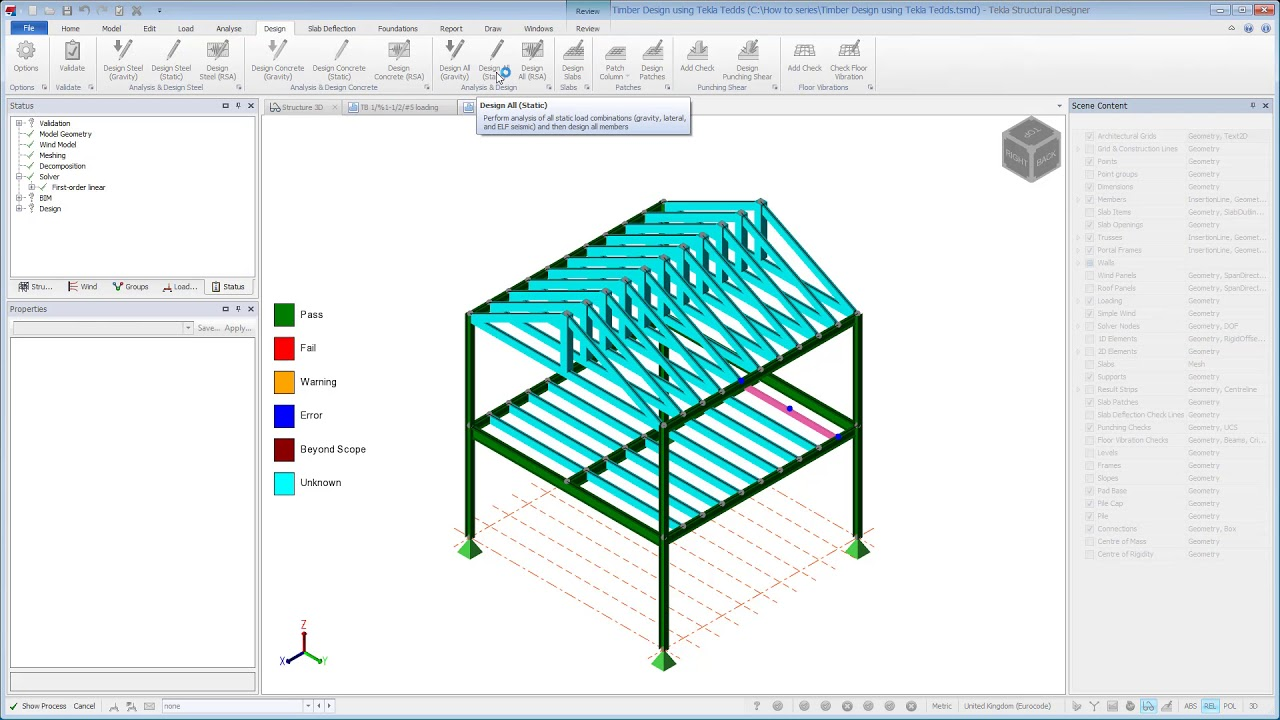 Timber design using the Design using Tekla Tedds export link