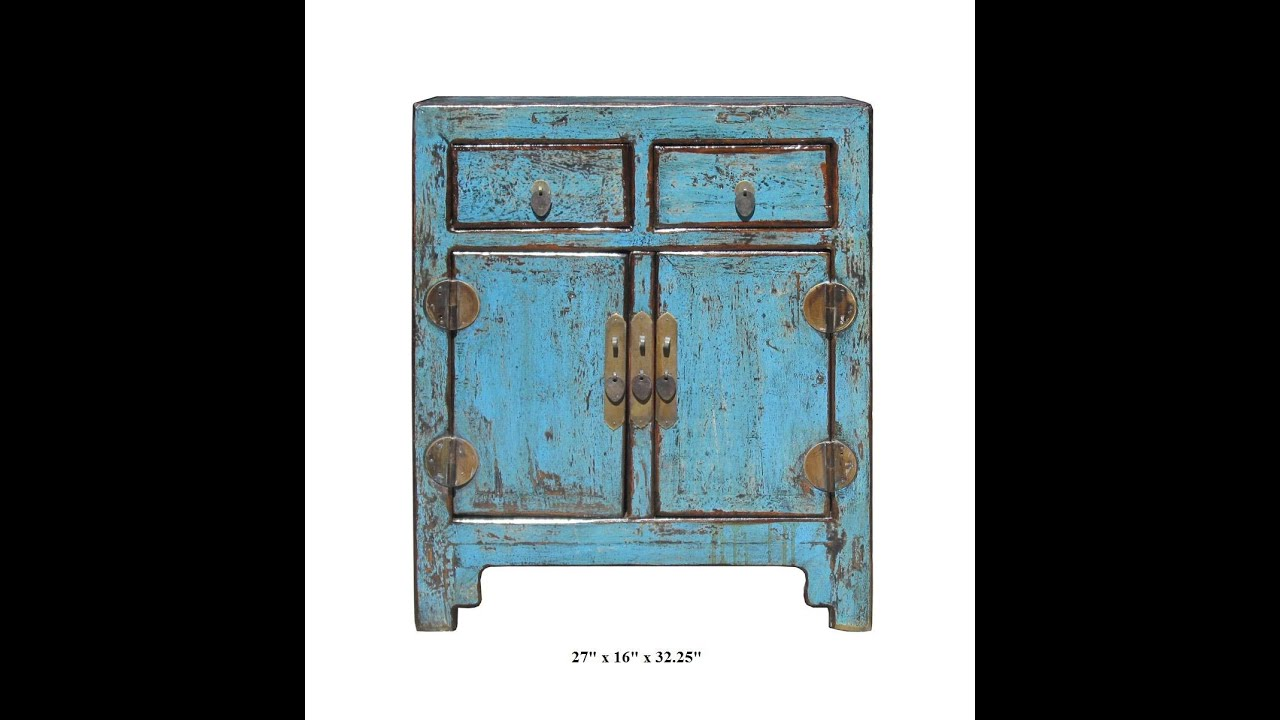 Rustic Turquoise Lacquer Solid Wood End Table Small Cabinet f880