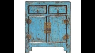 Rustic Turquoise Lacquer Solid Wood End Table / Small Cabinet F880