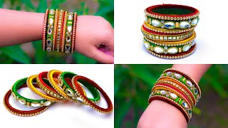 Make an awesome new bangle from old glass bangles | OLD BANGLE REUSE | Crafty Butterfly 069