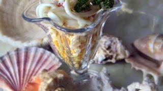 Салат из кальмаров с плавленым сыром  Пошаговый рецепт