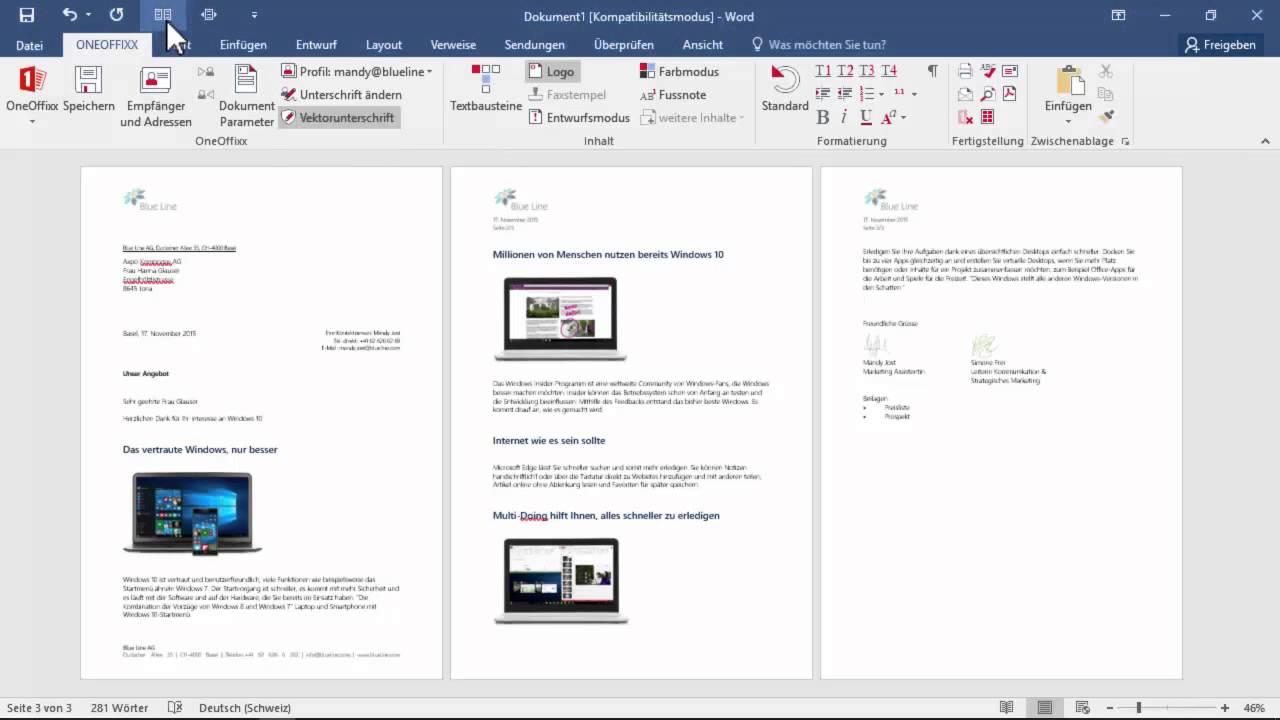Mit Der Vorlagenlösung Oneoffixx In Microsoft Word 2016 Einen Brief