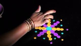 Rangoli design making without lines - quick, simple method