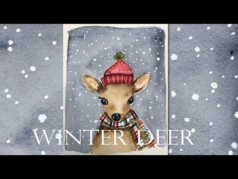 Easy Winter Deer Painting Tutorial/ Watercolor techniques/ Step by Step/ Handmade Christmas