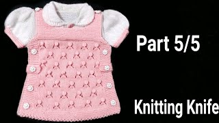How to Knit Smart Frock Round Collar/Puff Sleeves for 6-9 months Baby Girl/ Part 5/5. English/Hindi