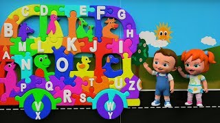 Alphabet ABC Song for Children | Little Baby Boy & Girl Fun Play Learning ABCD Bus Toy Set 3D Kids