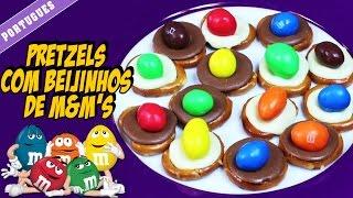 Pretzels Com Beijinhos De M&m's | Pretzel M & M Cookies | Portuguese Recipes