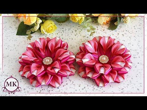 Цветы из узкой ленты шириной 1,2 и 0,6 см. МК. Канзаши.  DIY. Kanzashi. Ribbon Flowers.