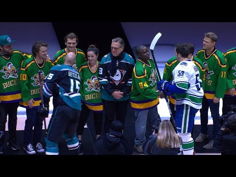 DJ Jaime Ferreira aka Dirty Elbows - The Cast Of Mighty Ducks Drop Puck At Anaheim Ducks Hockey Game!
