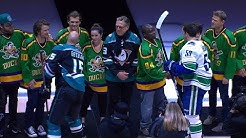 Cast of The Mighty Ducks drop ceremonial puck in Anaheim
