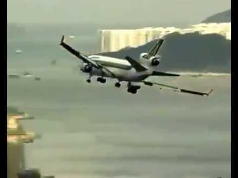 Incredible landing of Alitalia plane at Kai Tak, former Hong Kong airport.