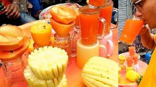 Natural Fresh Healthy Fruits Juice!! Papaya Juice @ Tk  30 Par glass, Two Brother Selling Yummy Food